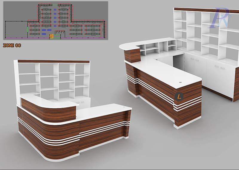 ออกแบบเคาน์เตอร์คิดเงินลายไม้