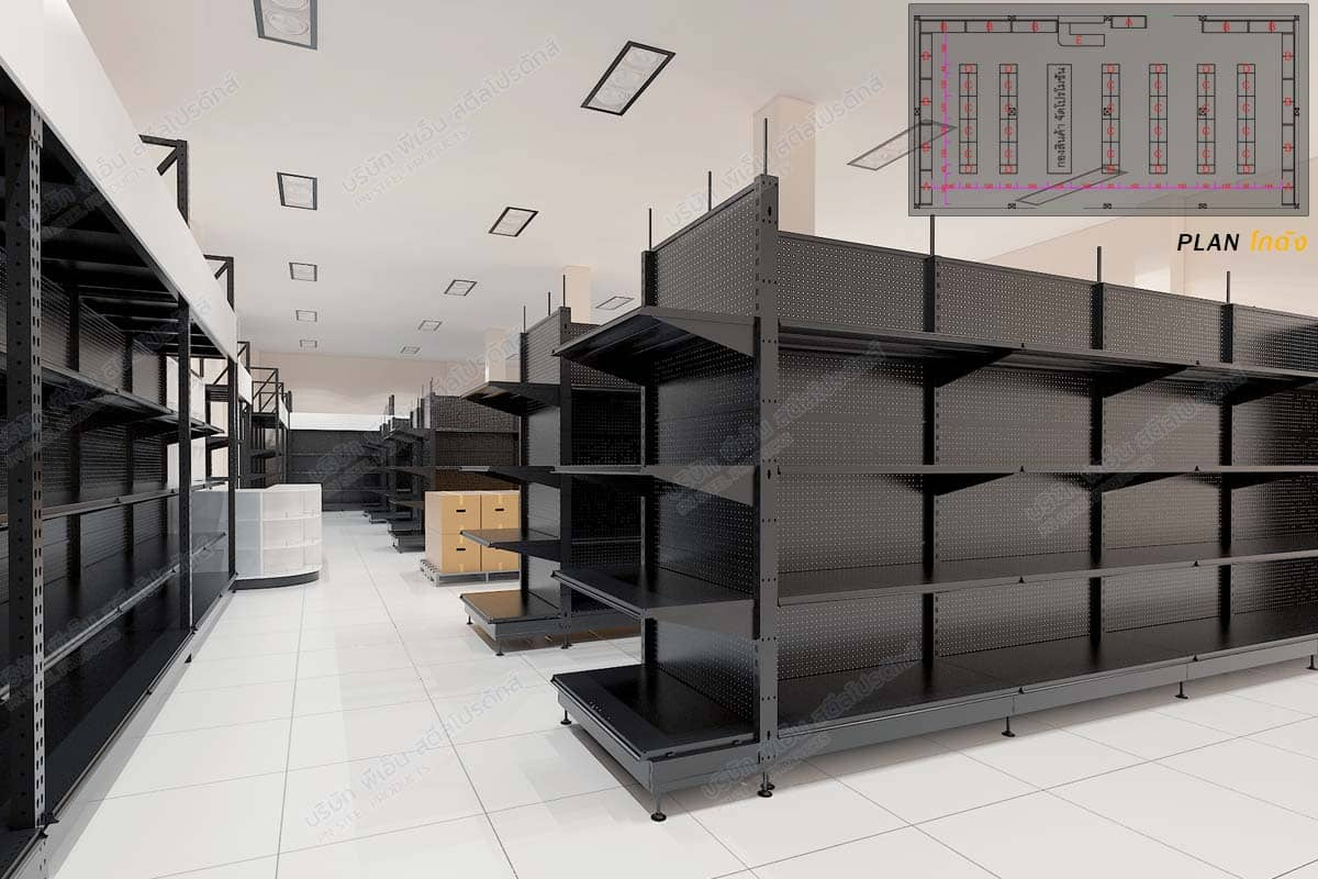 แปลนชั้นวางสินค้าสีดำในร้านค้า