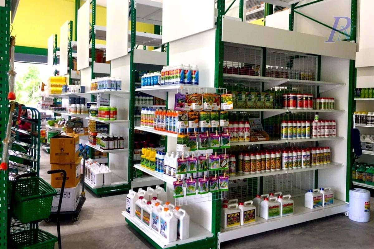 ชั้นวางขายสินค้าเคมีภัณฑ์การเกษตร