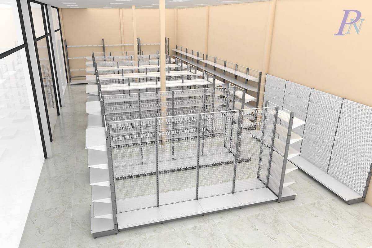 ภาพ 3 มิติแปลนจัดเรียงชั้นวางสินค้าหลายรูปแบบภายในร้านค้า