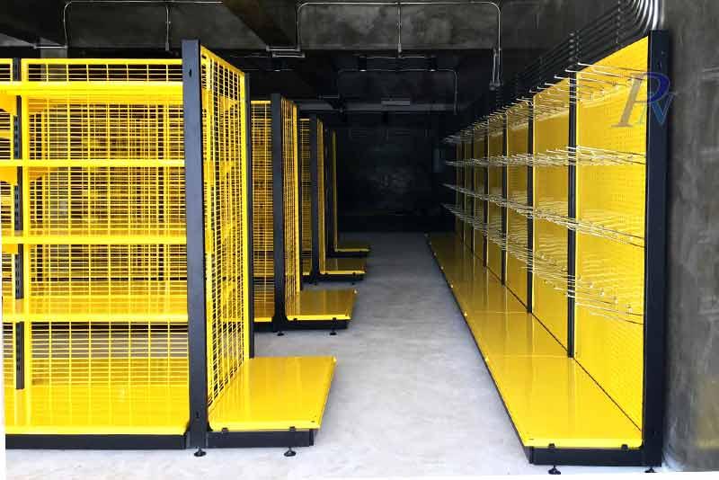 อุปกรณ์ชั้นวางสินค้าสีเหลือง