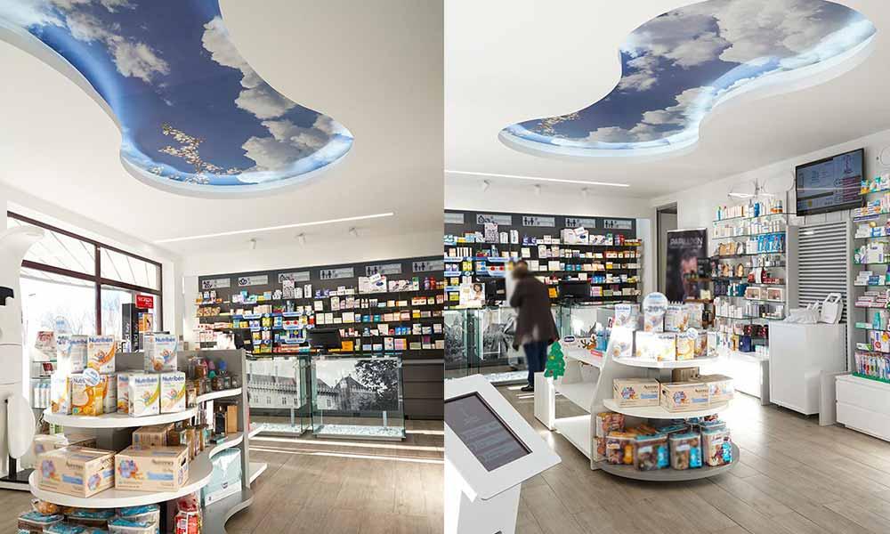แบบร้านขายยา Martins ที่ทำเพดานเป็นท้องฟ้า