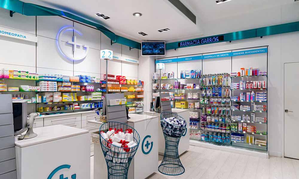 บริเวณเคาน์เตอร์คิดเงินในร้าน Garrós Pharmacy