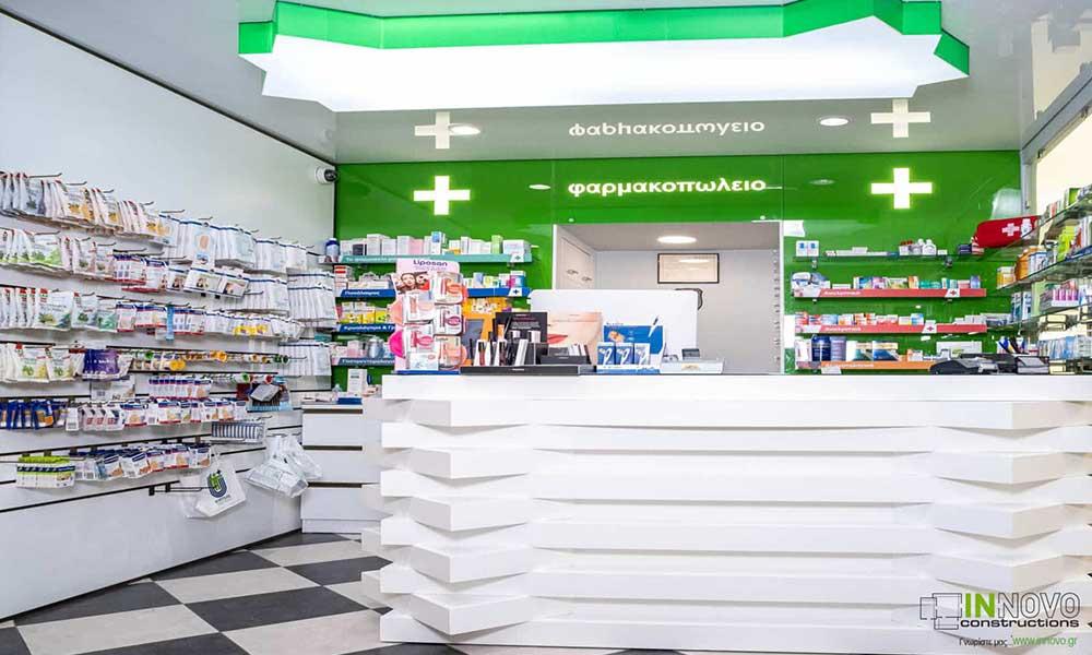 เคาน์เตอร์คิดเงินในแบบร้านขายยา Piraeus