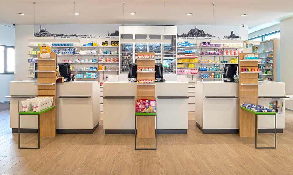 แบบร้านขายยา Pharmacie Du Pole sante เคาน์เตอร์คิดเงิน