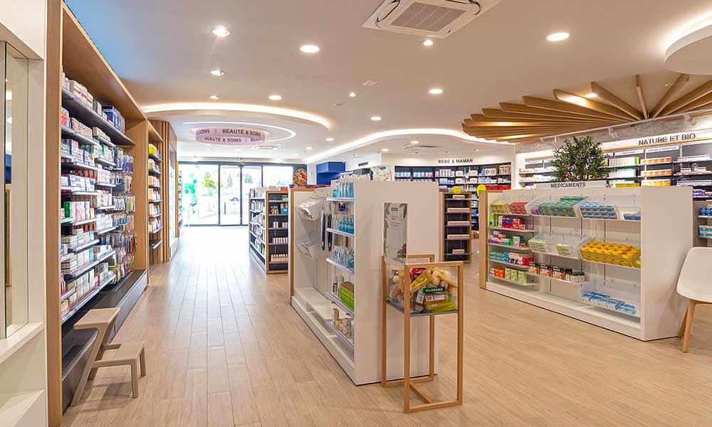 แบบร้านขายยา Pharmacie Du Pole sante ในร้าน