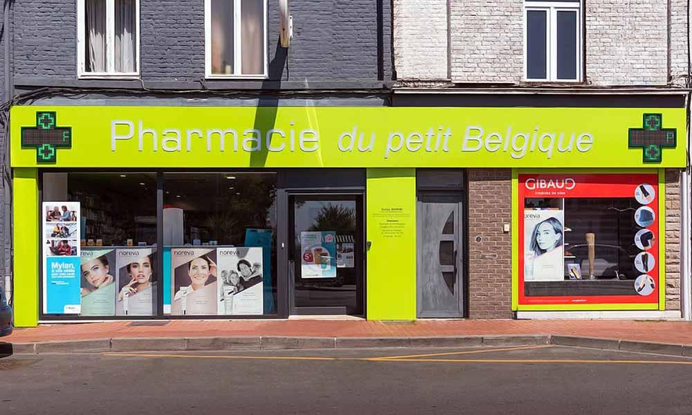 แบบร้านขายยา Petit Belgique ป้ายหน้าร้าน